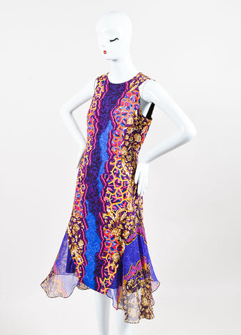 Peter Pilotto Blue, Orange, and Pink Silk Multi Print Godet Dress Sideview