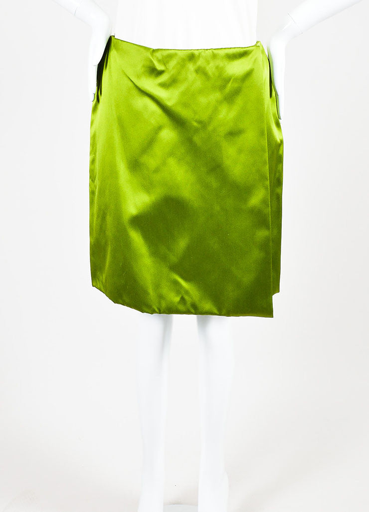Prada Light Green Silk Satin Knee Length Wrap Front A-Line Skirt Frontview