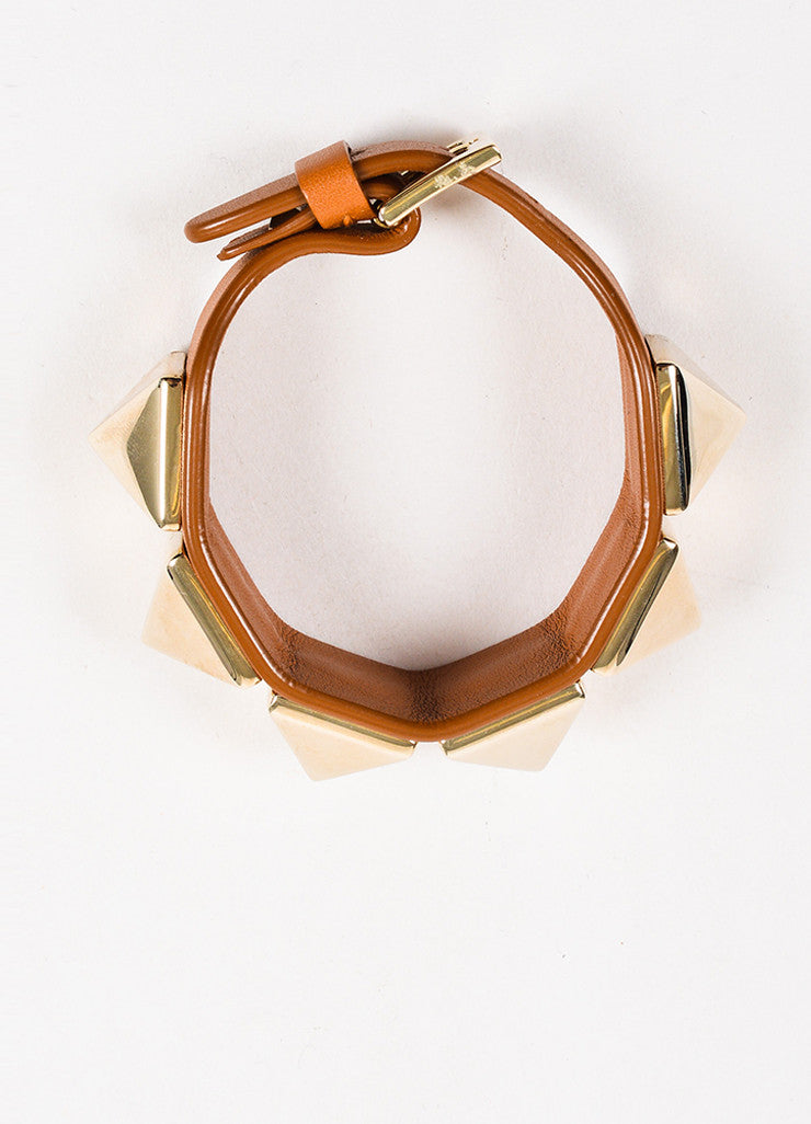 "Valentino Brown and Gold Toned Leather ""Va Va Voom Rockstud"" Buckle Bracelet Topview"