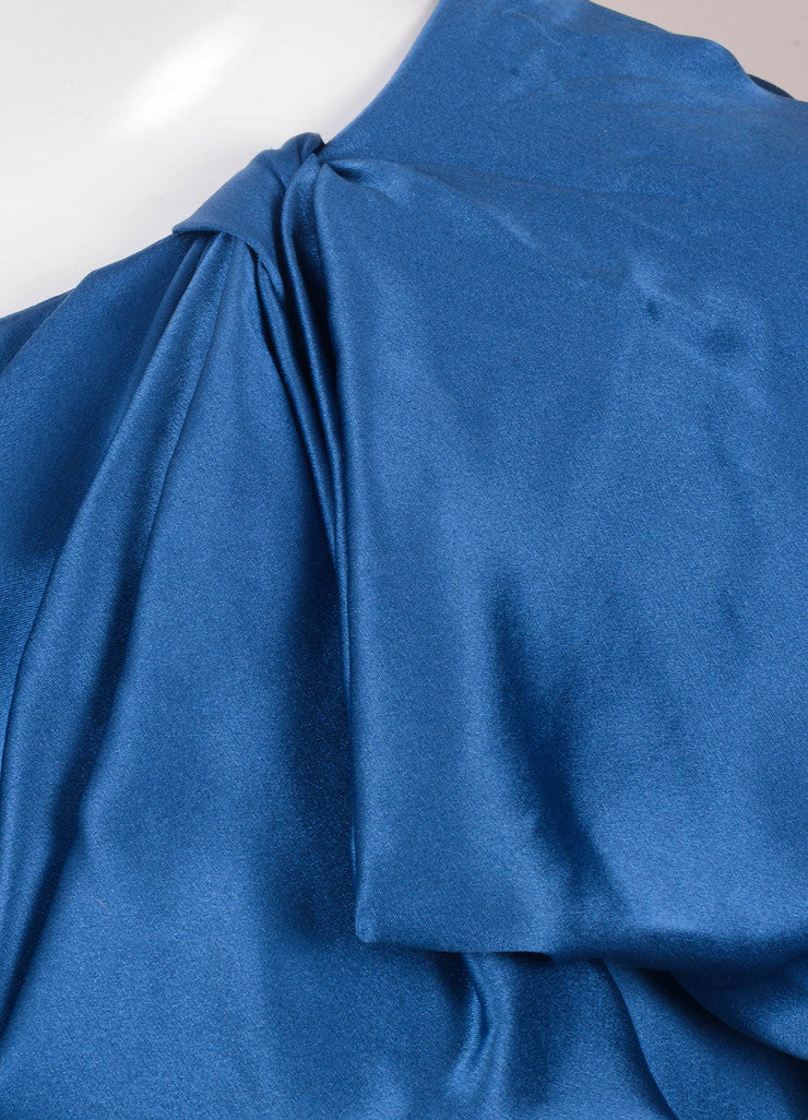 Blue Gathered One Shoulder Silk Dress