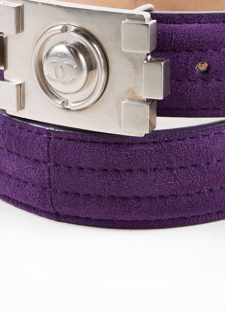 "Chanel Purple and Silver Toned Suede Lego ""CC"" Logo Notch Waist Belt Detail"