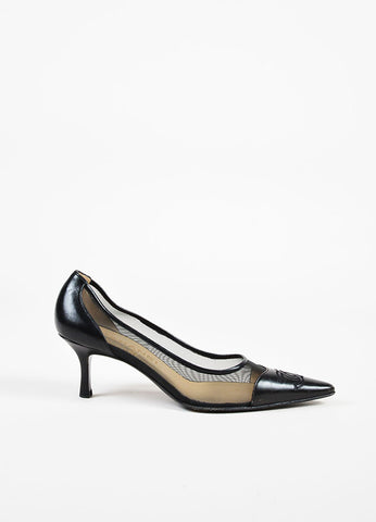 Chanel Black Leather and Mesh Pointed 'CC' Cap Toe Mid Height Heel Pumps Sideview