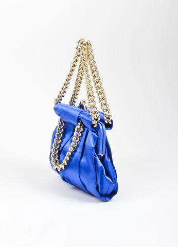 "Christian Louboutin Blue and Gold Toned Satin Chain ""'Loubinette'"" Pouch Bag Sideview"