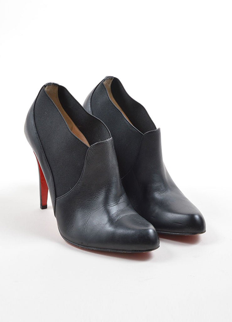 Christian Louboutin Black Leather Ankle Booties Front