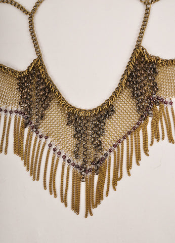 Falconiere New In Box Brass Toned and Dark Red Cabaret Chain Metal Mesh Halter Necklace Detail