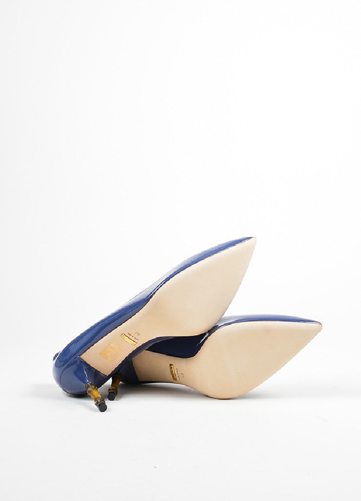 "Blue Gucci Patent Leather Pointed Toe Bamboo Heel ""Kristen"" Pumps Sole"