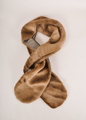 Harvey Faircloth New With Tags Brown Faux Fur Scarf Frontview