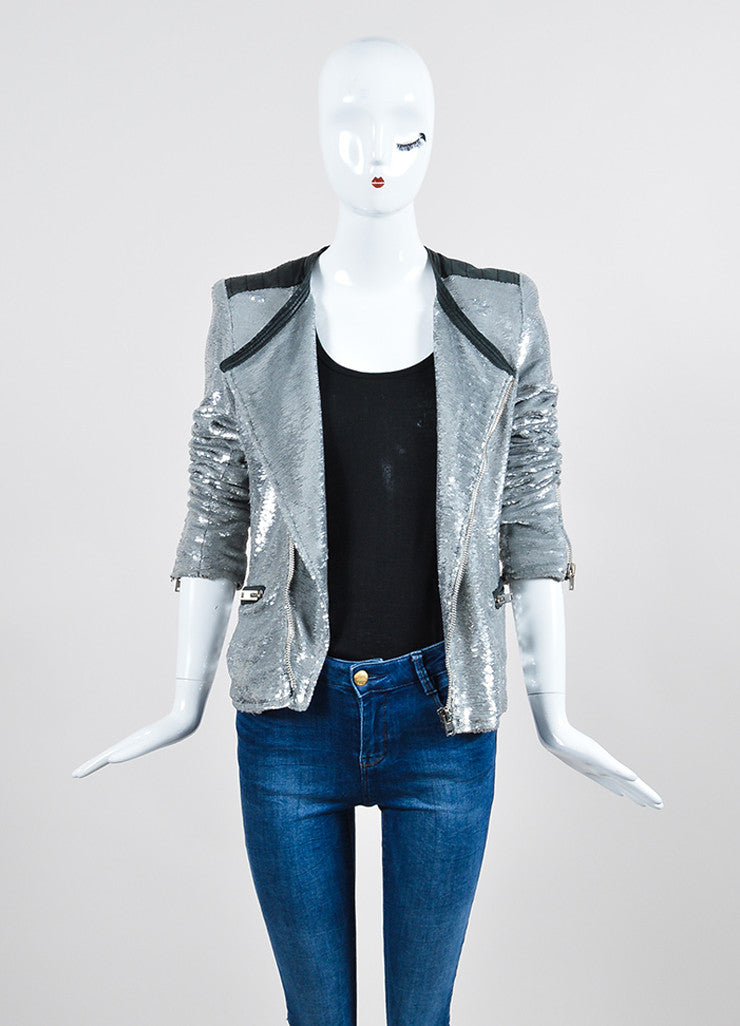 "Iro Silver Sequin Leather Trim Zip ""Longina"" Moto Jacket  Frontview"
