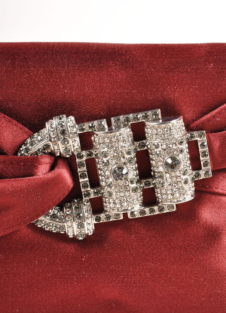 "Judith Leiber Wine Red Embellished Buckle Satin ""Serena"" Clutch Bag Detail 2"