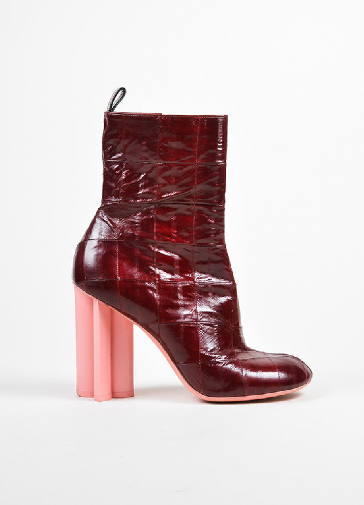 "Dark Red Louis Vuitton Eel Leather ""Instinct"" Ankle Boots"