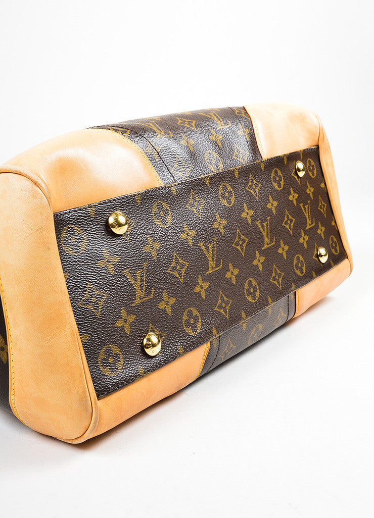 "Brown and Tan Louis Vuitton Coated Canvas Monogram ""Beverly GM"" Satchel Bag Bottom View"