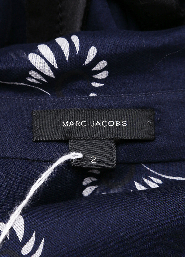 Marc Jacobs New With Tags Navy and White Floral Print Quarter Sleeve Cotton Blouse Brand 2