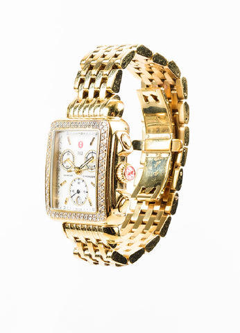 "Michele Yellow Gold Plated Stainless Steel and Diamond ""Deco"" Chronograph Watch Sideview"