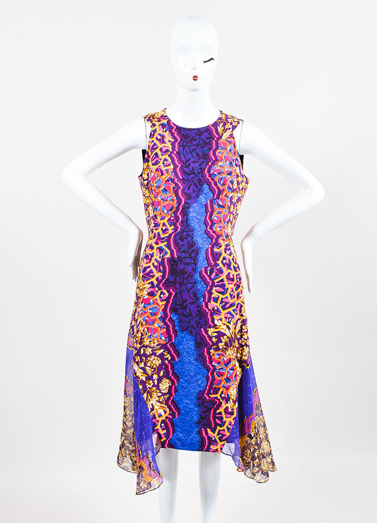Peter Pilotto Blue, Orange, and Pink Silk Multi Print Godet Dress Frontview