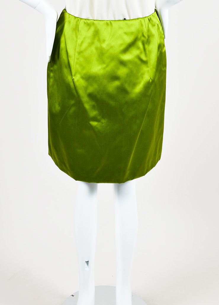 Prada Light Green Silk Satin Knee Length Wrap Front A-Line Skirt backview