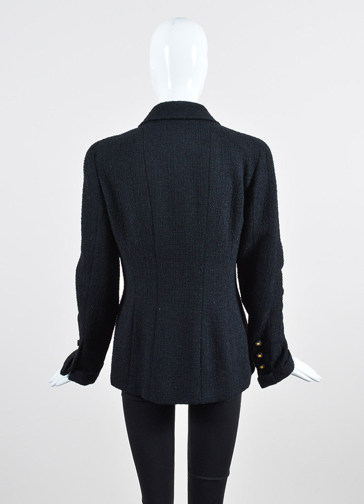 Black Chanel Wool Tweed Double Breasted 'CC' Buttoned Jacket Backview