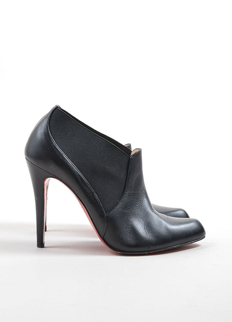 Christian Louboutin Black Leather Ankle Booties Side