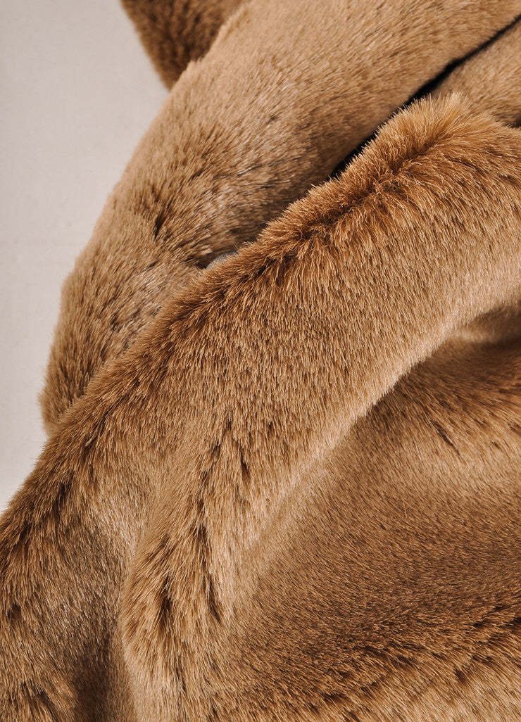 Harvey Faircloth New With Tags Brown Faux Fur Scarf Detail