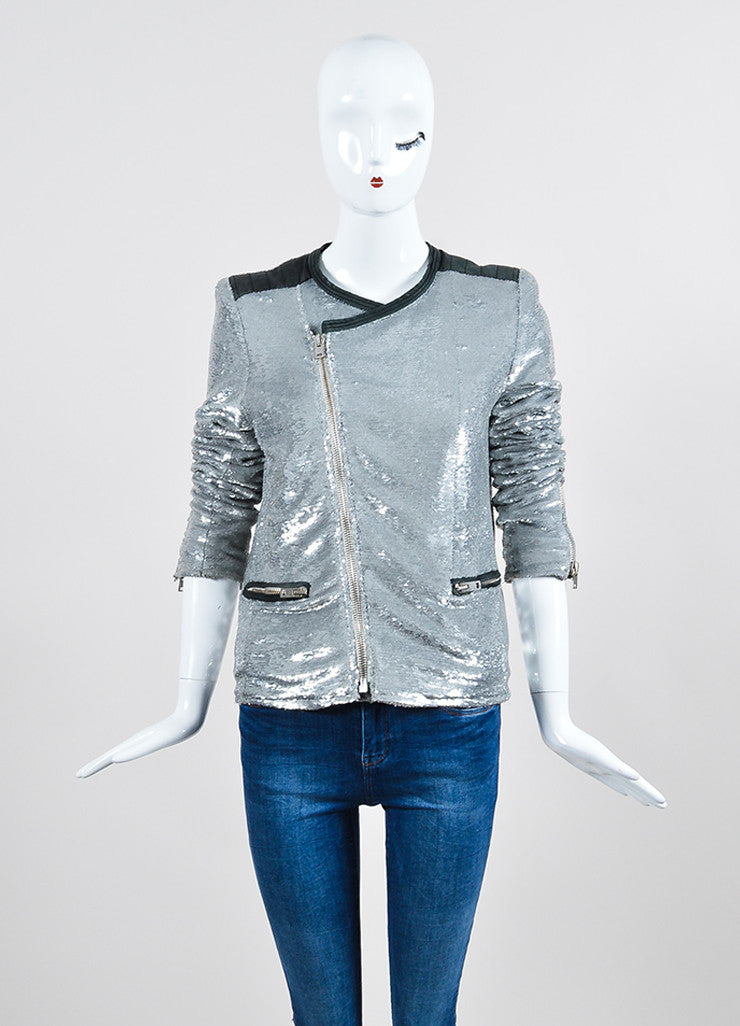 "Iro Silver Sequin Leather Trim Zip ""Longina"" Moto Jacket Frontview 2"