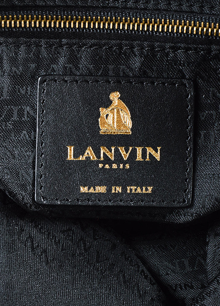 "Lanvin Black Quilted Leather Chain Ribbon Handle ""Amalia"" Shoulder Tote Bag Brand"