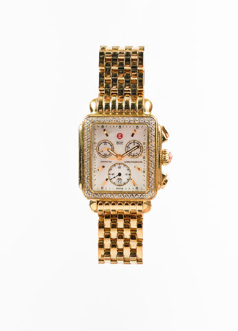 "Michele Yellow Gold Plated Stainless Steel and Diamond ""Deco"" Chronograph Watch Frontview"