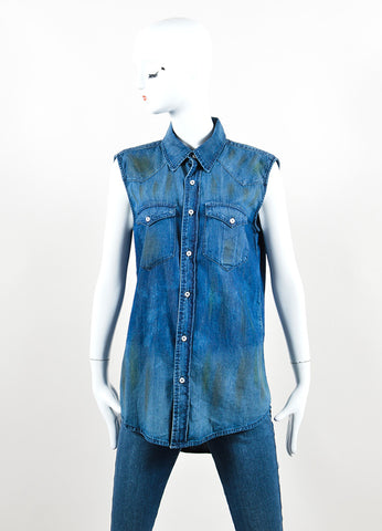 NSF Blue Denim Distressed Button Up Sleeveless Top Frontview