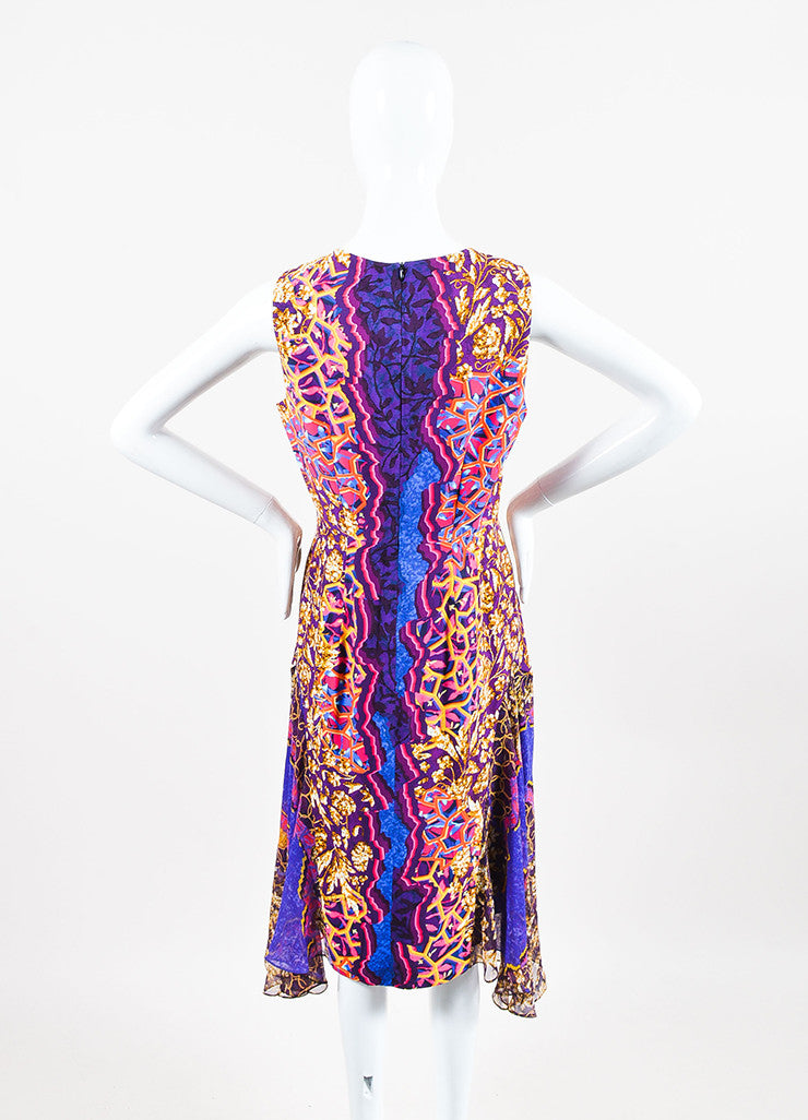 Peter Pilotto Blue, Orange, and Pink Silk Multi Print Godet Dress Backview