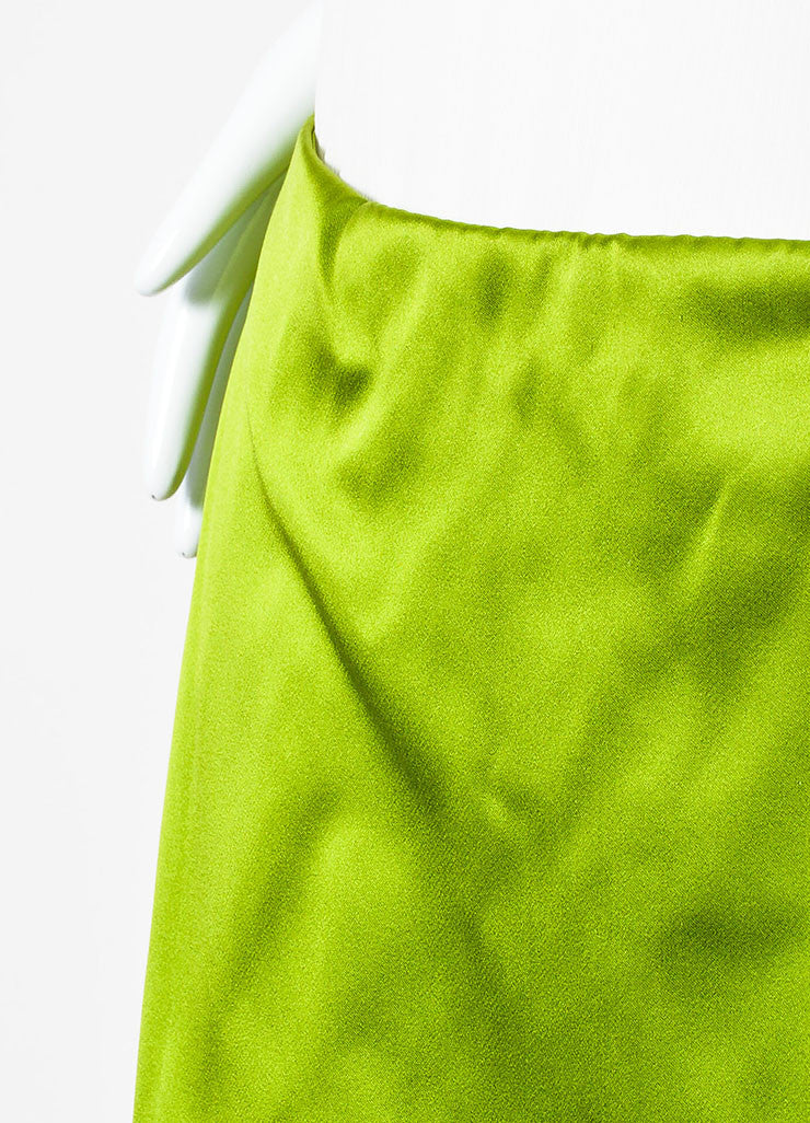 Prada Light Green Silk Satin Knee Length Wrap Front A-Line Skirt Detail