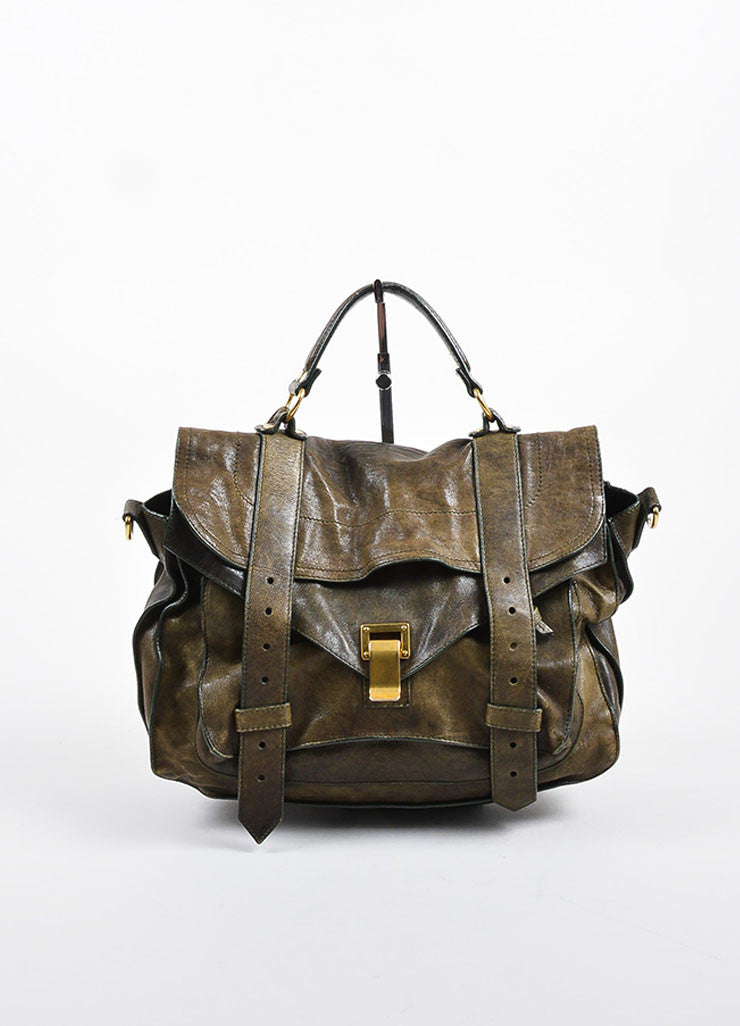 Olive Green Proenza Schouler Distressed Leather PS1 Satchel Bag Frontview
