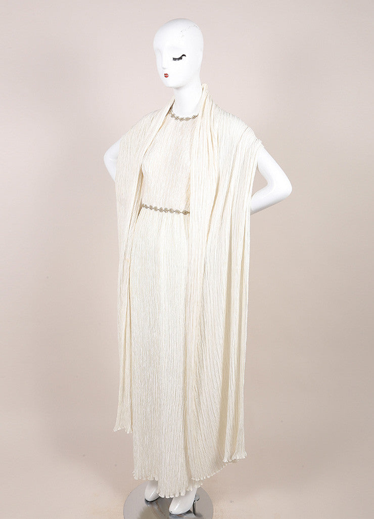 Mary McFadden Ivory Crinkled Beaded Strap Back Sleeveless Gown Sideview