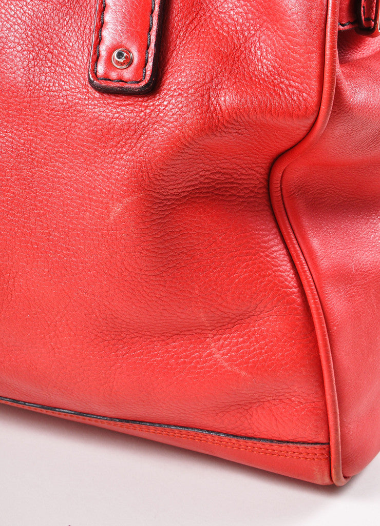 Balenciaga Red and Silver Toned Turnlock Clasp Grained Leather Shoulder Bag Detail 3