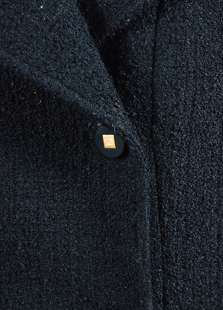 Black Chanel Wool Tweed Double Breasted 'CC' Buttoned Jacket Detail