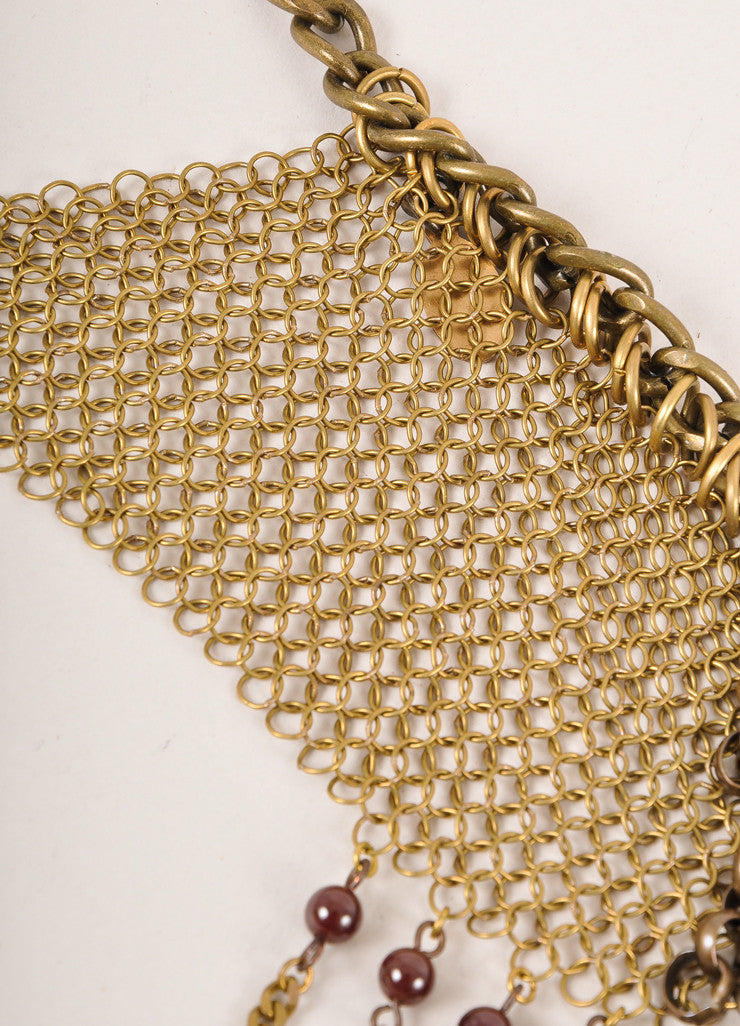 Falconiere New In Box Brass Toned and Dark Red Cabaret Chain Metal Mesh Halter Necklace Detail 3