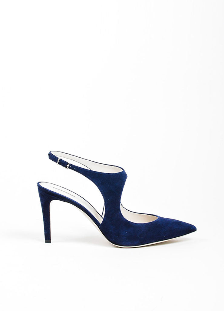 Navy Giorgio Armani Suede Pointed Toe Slingback Pumps Side
