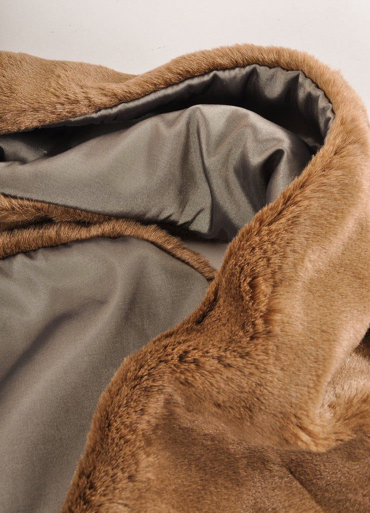 Harvey Faircloth New With Tags Brown Faux Fur Scarf Detail 2