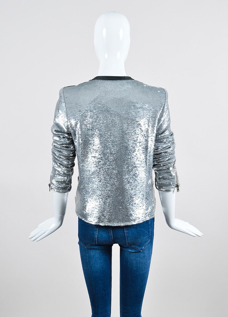 "Iro Silver Sequin Leather Trim Zip ""Longina"" Moto Jacket Backview"