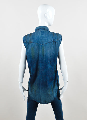 NSF Blue Denim Distressed Button Up Sleeveless Top Backview