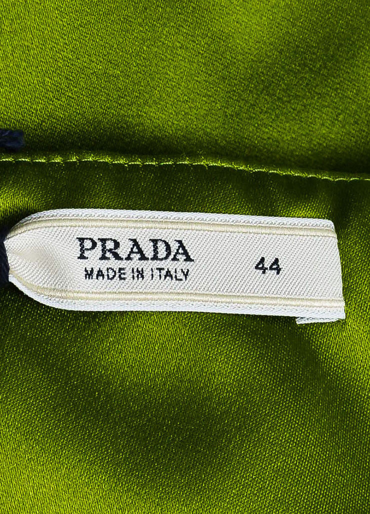 Prada Light Green Silk Satin Knee Length Wrap Front A-Line Skirt Brand