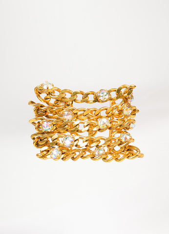 Gold Toned and Iridescent Crystal Chanel Chunky Multi Chain Wide Bracelet Frontview