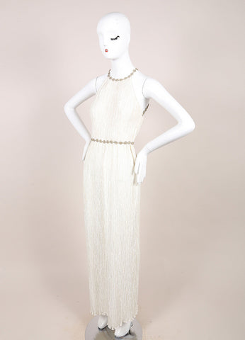 Mary McFadden Ivory Crinkled Beaded Strap Back Sleeveless Gown Sideview 2