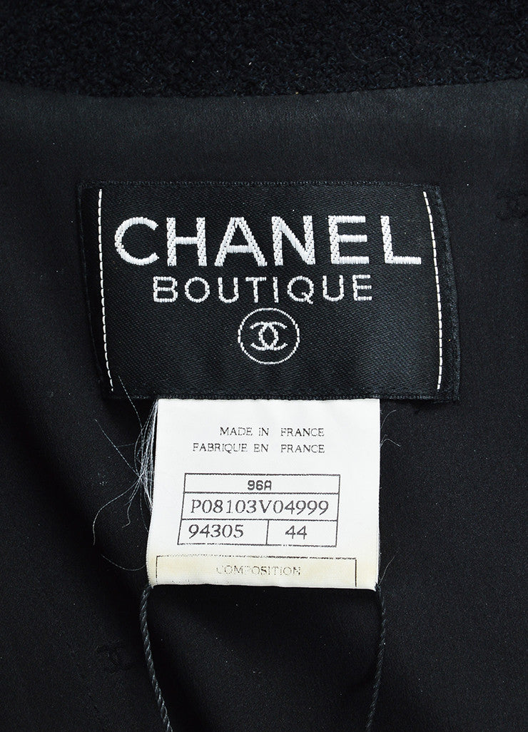 Black Chanel Wool Tweed Double Breasted 'CC' Buttoned Jacket Brand