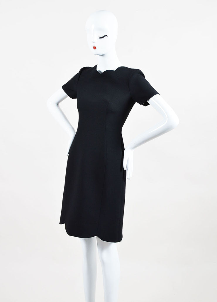 Black Christian Dior Wool and Silk Scalloped Trim Short Sleeve Dress Front