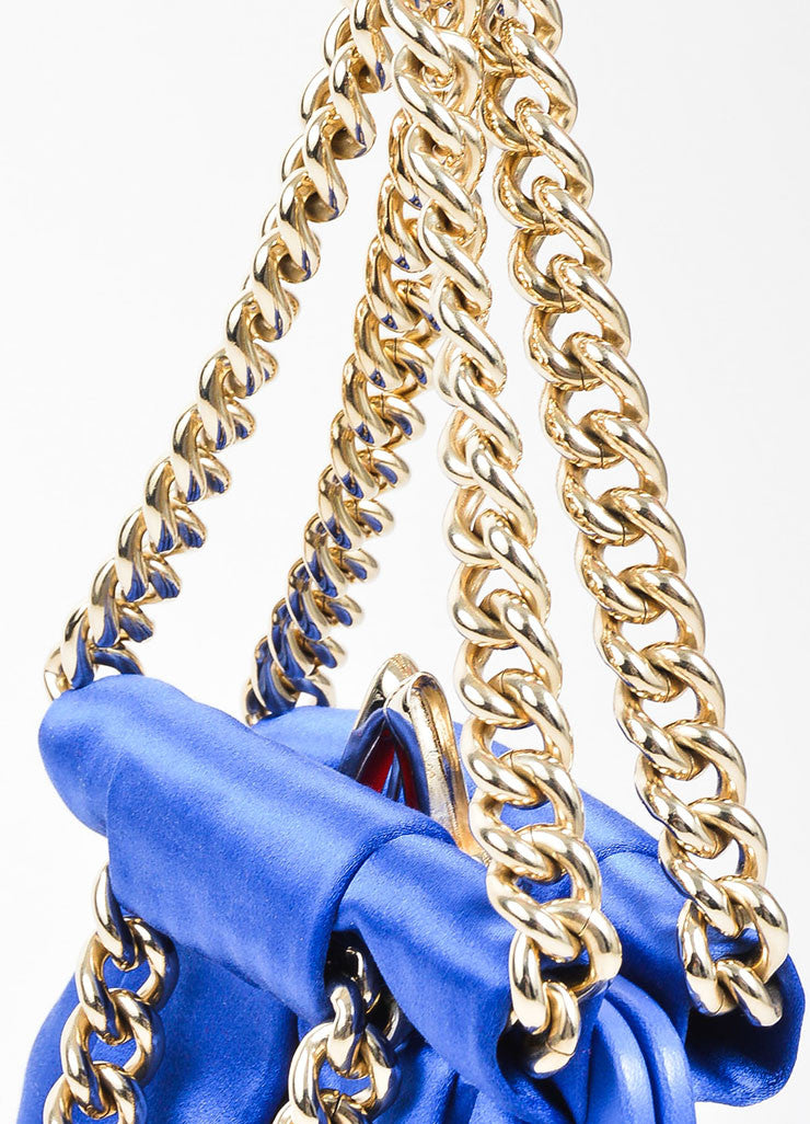 "Christian Louboutin Blue and Gold Toned Satin Chain ""'Loubinette'"" Pouch Bag Detail 2"