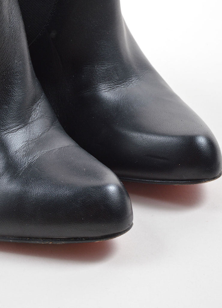 Christian Louboutin Black Leather Ankle Booties Toe