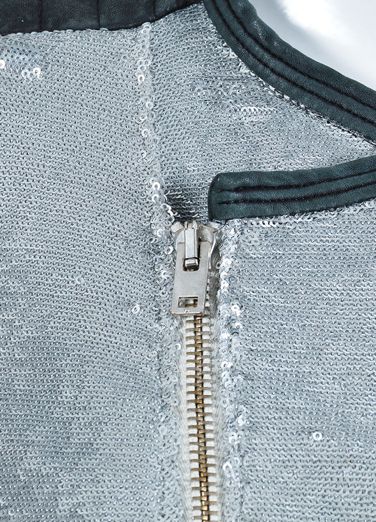 "Iro Silver Sequin Leather Trim Zip ""Longina"" Moto Jacket Detail"
