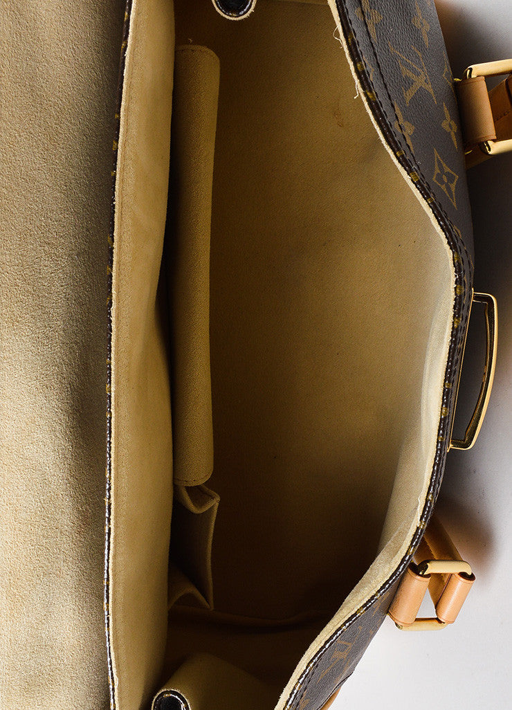 "Brown and Tan Louis Vuitton Coated Canvas Monogram ""Beverly GM"" Satchel Bag Interior"