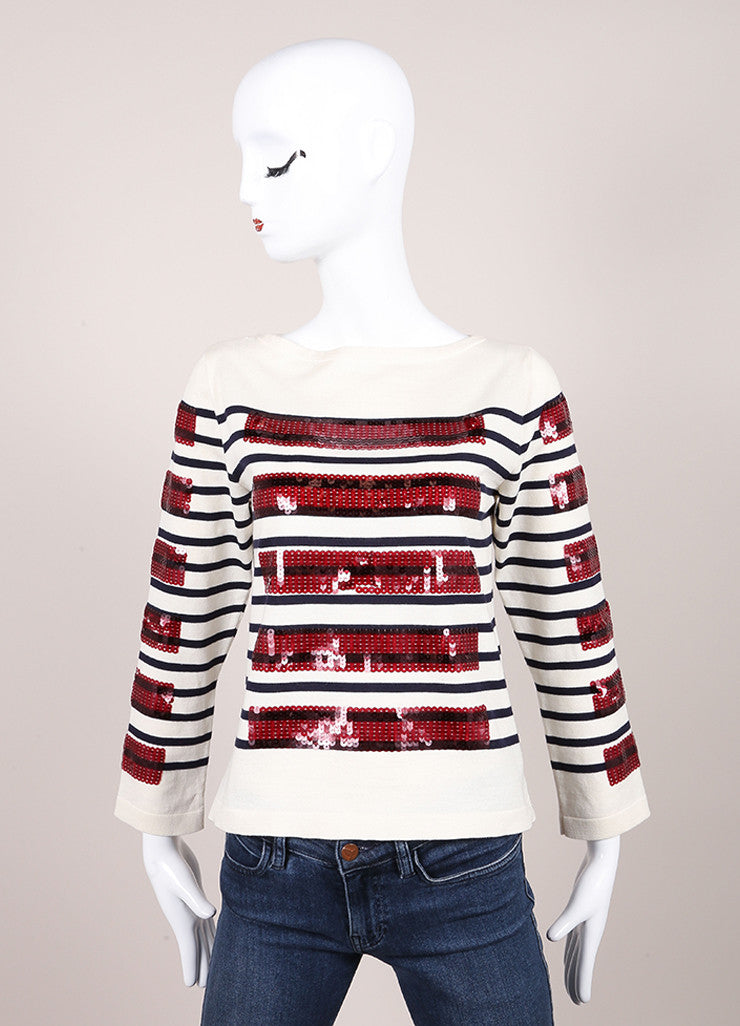 Marc Jacobs New With Tags Cream, Blue, and Red Sequin Stripe Cotton and Cashmere Sweater Frontview