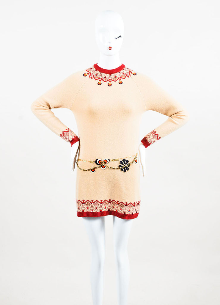 Chanel Tan and Red Cashmere Intarsia Knit Embellished Long Sleeve Sweater Dress Frontview