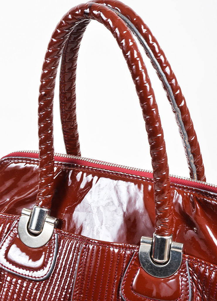 "Chloe Red Quilted Patent Leather ""Heloise"" Large Zip Tote Bag Detail 2"