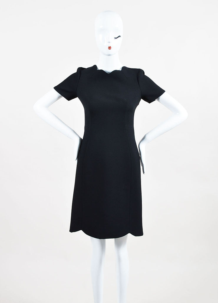 Black Christian Dior Wool and Silk Scalloped Trim Short Sleeve Dress Front 2